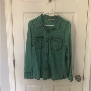 Distressed Teal Button Down